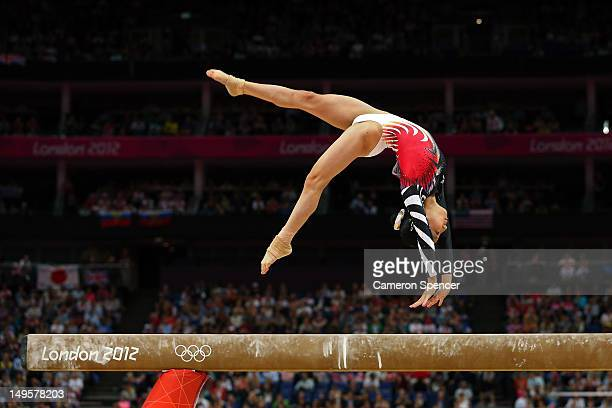 Asuka Teramoto of Japan performs on the balance beam in the Artistic Gymnastics Women's Team final on Day 4 of the London 2012 Olympic Games at North...