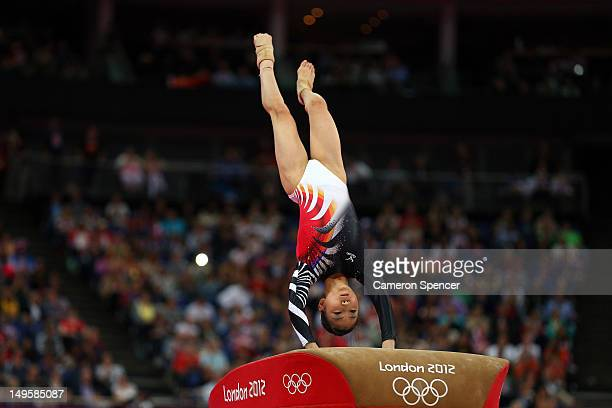 Asuka Teramoto of Japan performs on the vault in the Artistic Gymnastics Women's Team final on Day 4 of the London 2012 Olympic Games at North...