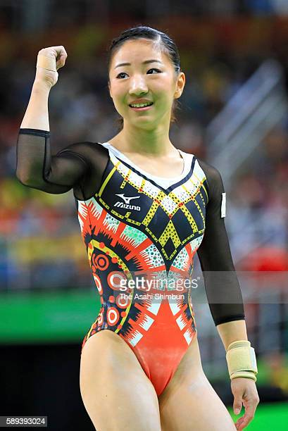 Asuka Teramoto of Japan reacts after competing on the balance beam during the Women's Individual All Around Final on Day 6 of the 2016 Rio Olympics...