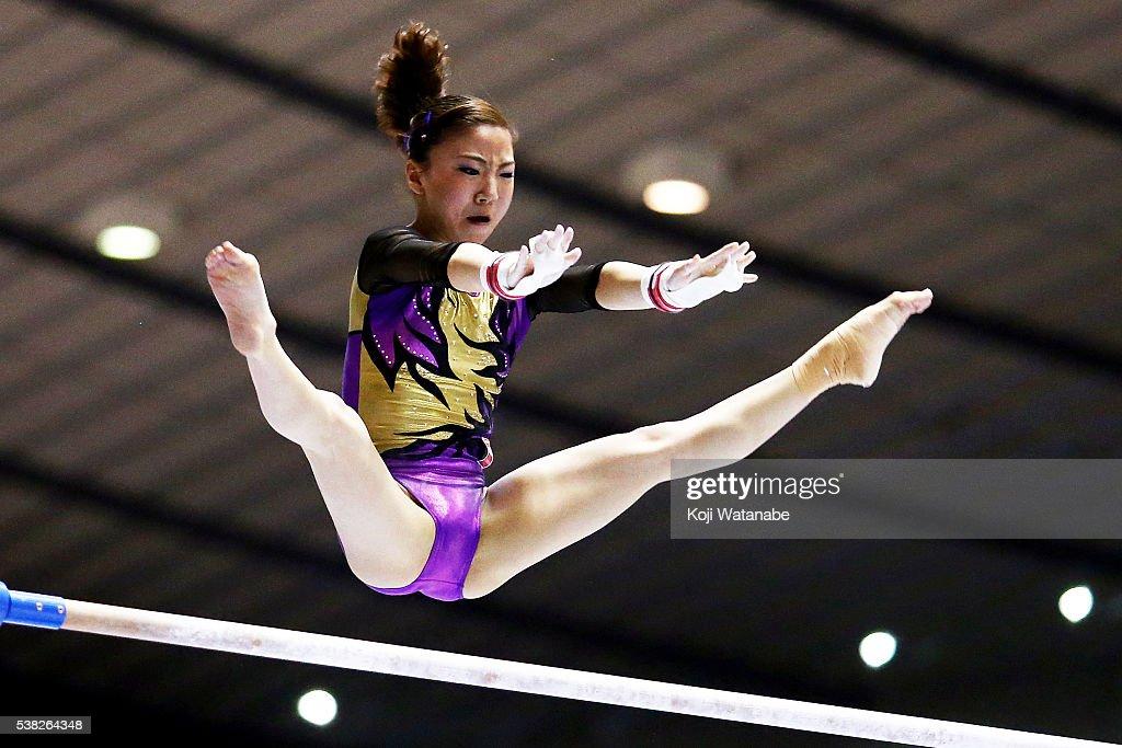 Asuka Teramoto on the uneven bars during the All-Japan Gymnastic Appratus Championshipsat Yoyogi National Gymnasium on June 5, 2016 in Tokyo, Japan.