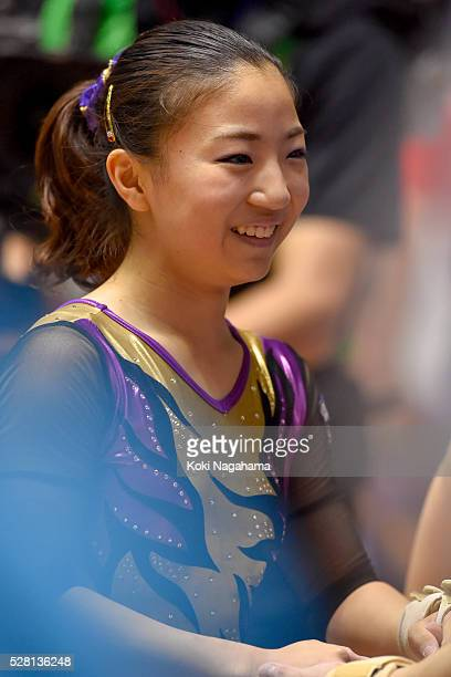 Asuka Teramoto smiles after the Balance Beam during the Artistic Gymnastics NHK Trophy at Yoyogi National Gymnasium on May 4 2016 in Tokyo Japan