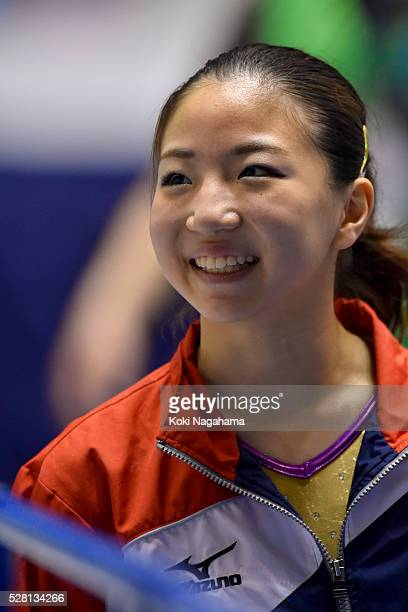 Asuka Teramoto smiles during the Artistic Gymnastics NHK Trophy at Yoyogi National Gymnasium on May 4 2016 in Tokyo Japan