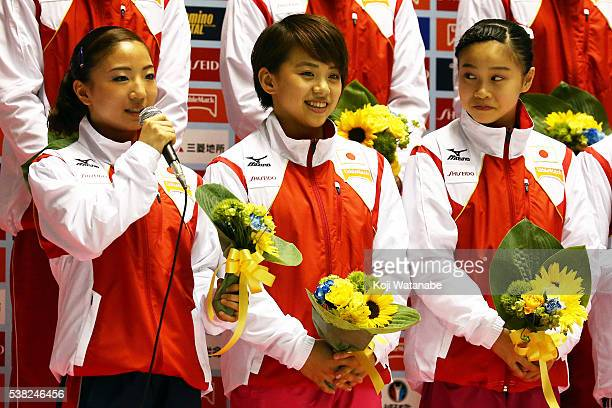 Asuka Teramoto spekes and Mai Murakami and Aiko Sugihara take part Rio Olympic Games during the AllJapan Gymnastic Appratus Championshipsat Yoyogi...