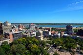 Asunción, Paraguay: city center skyline looking towards Plaza de los Heroes - Asuncion Bay and River Paraguay in the background - photo by M.Torres