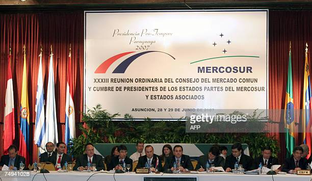 Paraguayan Foreign Affairs Minister Ruben Ramirez chairs the start of the XXXIII Council Meeting of the Mercosur in Asuncion 28 June 2007 The Council...