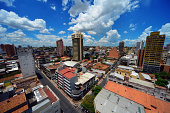 Asunción, Paraguay: city center skyline - view from above the intersection of Azara and Independencia Nacional streets -  photo by M.Torres