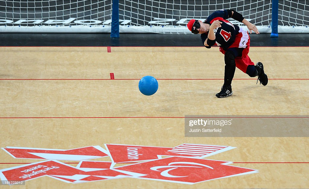 Asya Miller of the United States (4) throws during the Women's Team Goalball preliminary round match against Canada on Day 6 of the London 2012 Paralympic Games at the Copper Box in the Olympic Park on September 4, 2012 in London, England. Canada went on to win the match 1-0.
