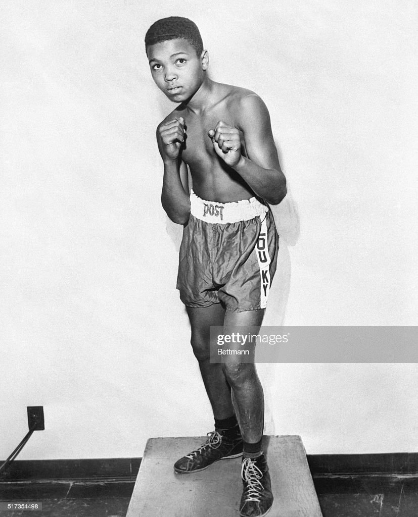 At 12years old Cassius Clay shows his best pugilist stance