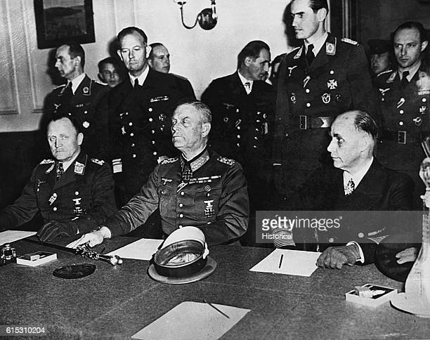 At a ceremony in the Soviet military headquarters in Berlin Luftwaffe commanding General Hans Stumpf Field Marshal Wilhelm Keitel and Admiral...