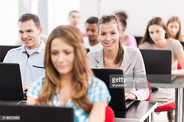 At a computer class.