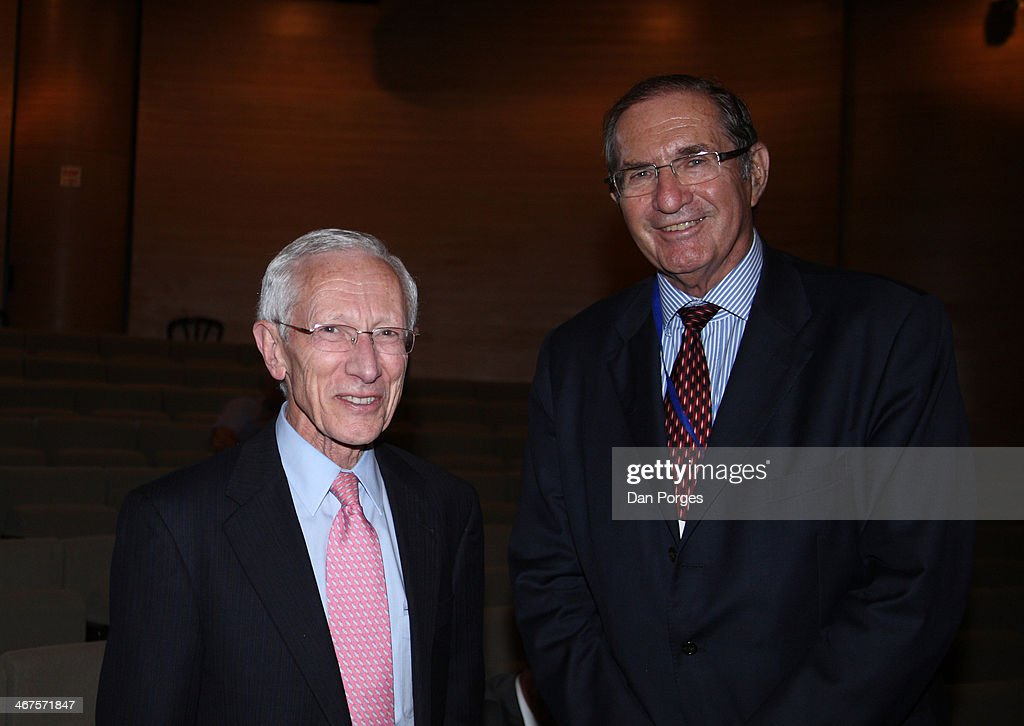At a conference held by the Bank of Israel at the Israel Museum, Governor of the Bank of Israel Professor <a gi-track='captionPersonalityLinkClicked' href=/galleries/search?phrase=Stanley+Fischer&family=editorial&specificpeople=233518 ng-click='$event.stopPropagation()'>Stanley Fischer</a> (left) poses with Israeli industrialist Dan Propper, Jerusalem, Israel, June 18, 2013.