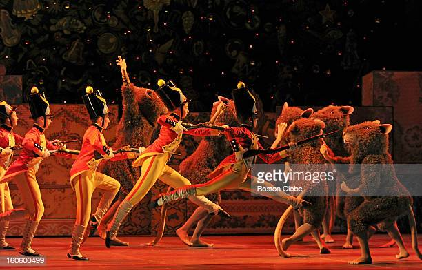 At a dress rehearsal of the Boston Ballet's new production of The Nutcracker at the Opera House of Boston Boston Ballet School students playing the...