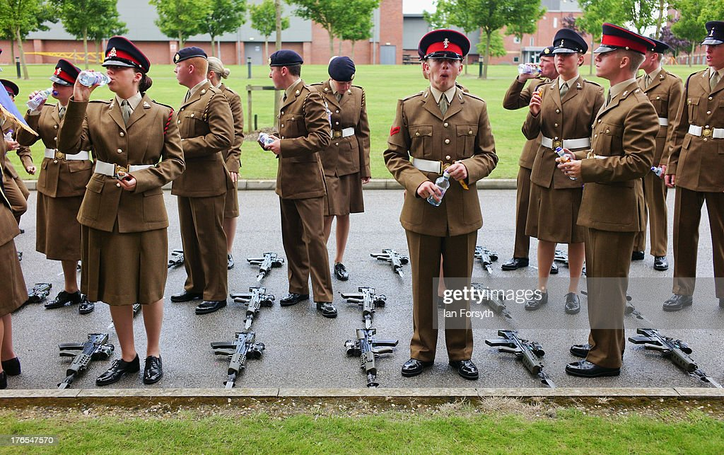at a graduation parade for Junior Soldiers on August 15, 2013 in Harrogate, England. The Army Foundation College in Harrogate opened in 1998 and provides training for soldiers destined for all the Army's career paths and provides training for 1344 junior soldiers. During their time at the college the students are taught basic military skills and can achieve vocational qualifications, City and Guilds apprenticeships and take part in the Duke of Edinburgh Award Scheme. The graduation parade is the largest in Europe and is only exceeded in size by the Trooping of the Colour in London. Following the parade the students will go on for further specialist training before finally joining their units and moving forward with their military careers.