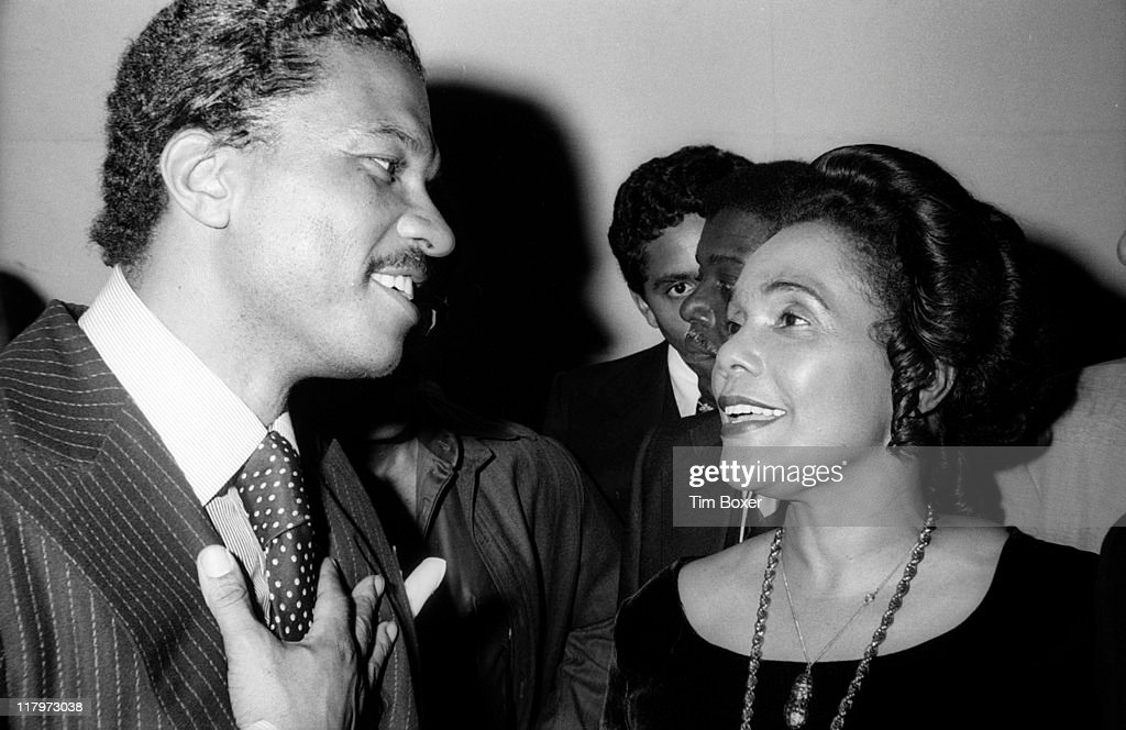 At a party in honor of the theatrical production 'I Have a Dream' held at the US Steak House American Civil Rights activist Coretta Scott King speaks...