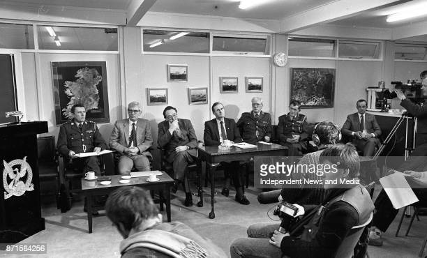 At a Press Conference at Baldonnel Aerodrome on the new Dauphin helicopters going into service on night operations January 21 1988 From left Lt Col...