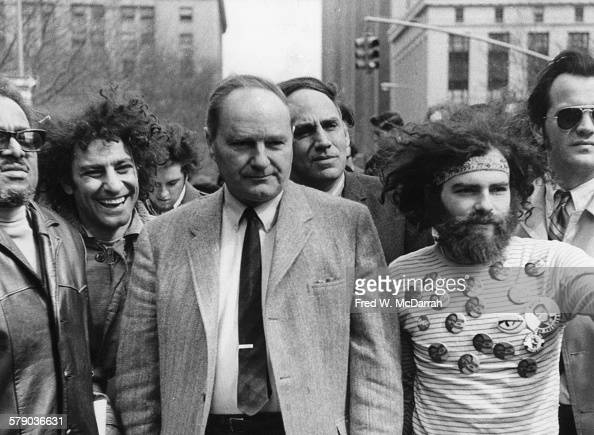 At a rally in support of the Black Panther Party Abbie Hoffman David Dellinger William Kunstler and Jerry Rubin gather outside the Federal Court...