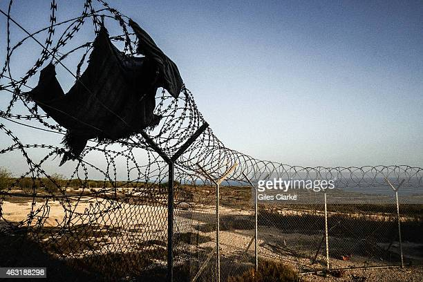 At a remote migrant center on September 12 2014 in Lampedusa Italy This is also the site where American soldiers were based during the bombing of...