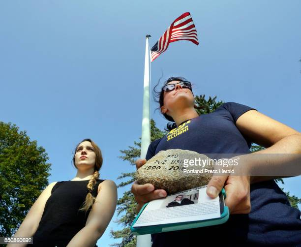 At a veterans memorial in Westbrook's Riverbank Park on Monday September 11 Salina Mallory left and Rebecca Tanous participate in an event honoring...