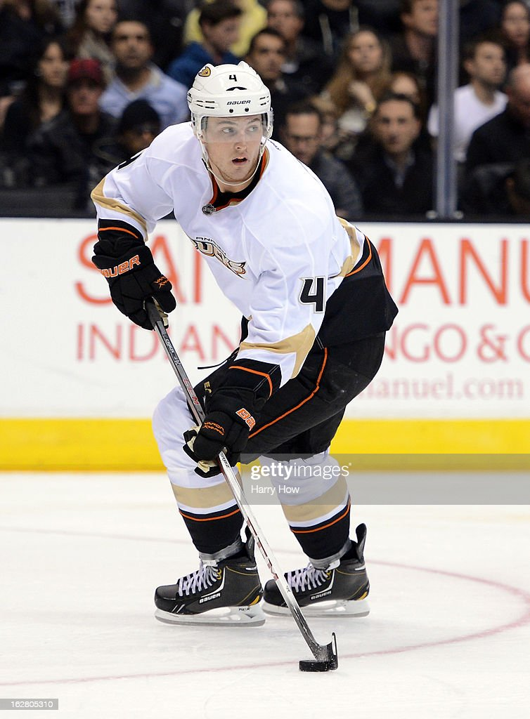 at Cam Fowler #4 of the Anaheim Ducks circles with the puck during the game against the Los Angeles Kings Staples Center on February 25, 2013 in Los Angeles, California.