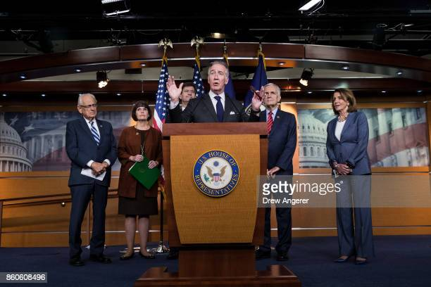 At center ranking member of the House Ways and Means Committee Rep Richard Neal speaks during a news conference on Republican plans to end the state...