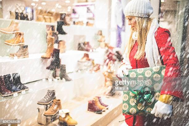 At Christmas shopping