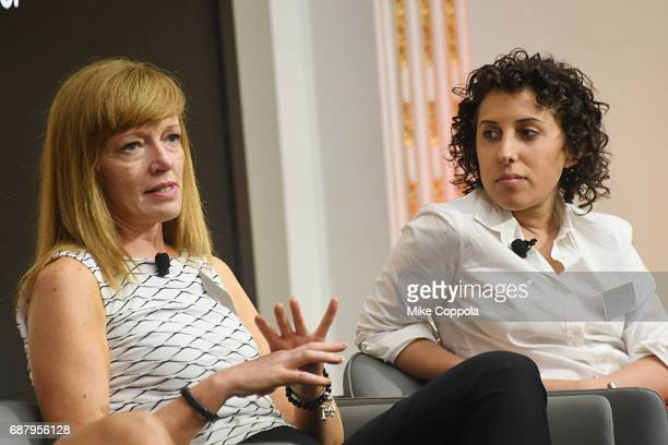 CMO at Citi Fintech Linda Duncombe and CEO and founder at MikMak Rachel Tipograph speak onstage during Interbrand Breakthrough Brands 2017 on May 24...