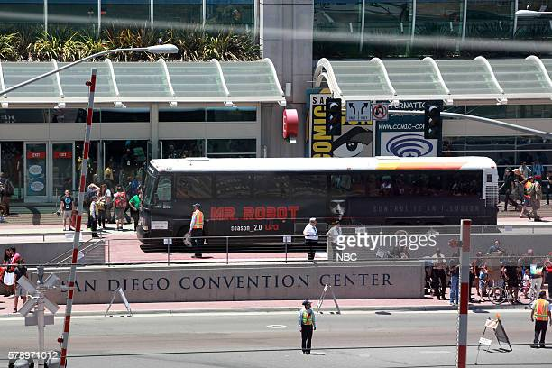DIEGO 2016 'NBC at ComicCon' Pictured 'Mr Robot' Bus Wrap San Diego Calif