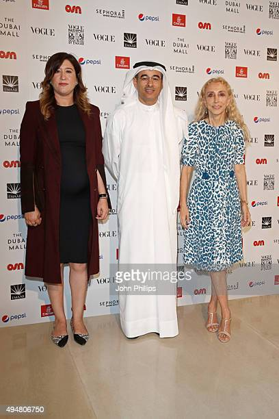 CEO at Dubai Design Fashion Council Nez Gebreel Emaar Chairman and founder Mohamed Alabbar and Italien Vogue editorinchief Franca Sozzani seen during...
