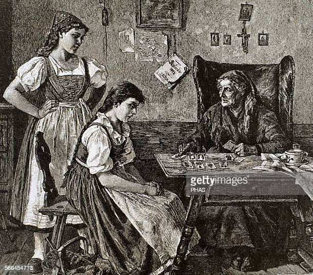 At fortune teller's house Engraving by Walla L'Illustration 1885