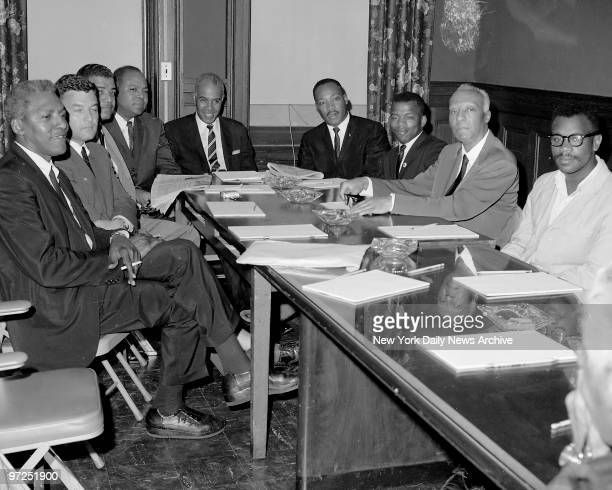 At Freedom House civil rights leaders attend 'summit meeting' They are Bayard Rustin Jack Greenberg Whitney Young Jr James Farmer Roy Wilkins Dr...