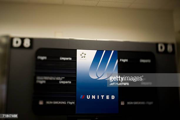 JUNE 28 2006 At gate D8 in Chicagos OHare airport a United sign sits ready to hold flight information for airline passengers passing through busy...