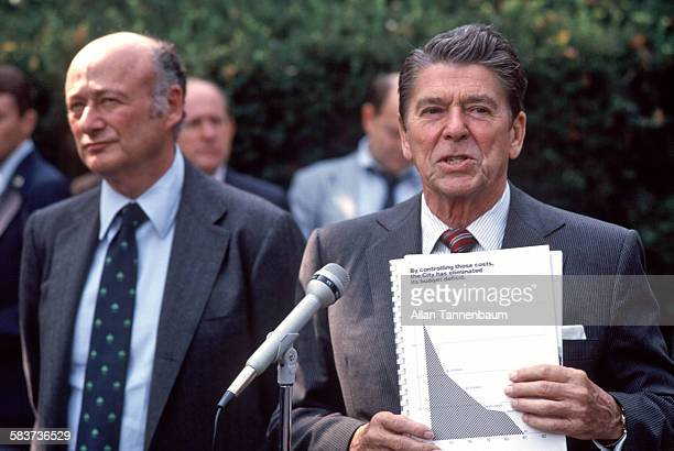 At Gracie Mansion US President Ronald Reagan with New York Mayor Ed Koch speaks to the press about Koch's balanced city budget New York New York...