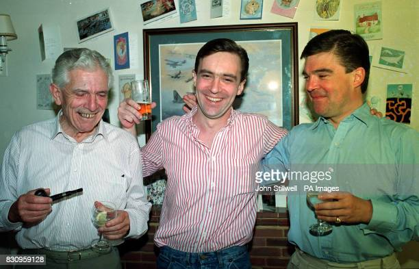 At his VIP suite former Middle East hostage John McCarthy father Patrick and brother Terry drink a toast to their departure tomorrow from RAF Lyneham...