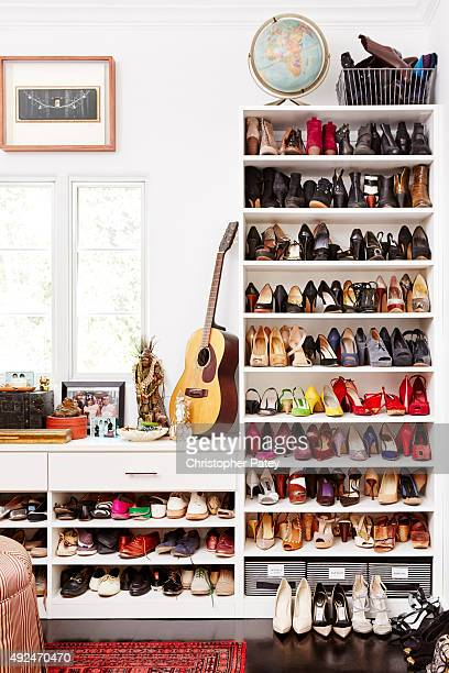 At home with Actress Constance Zimmer whose closet of shoes is photographed for Domaine Home on June 5 2015 in Studio City California