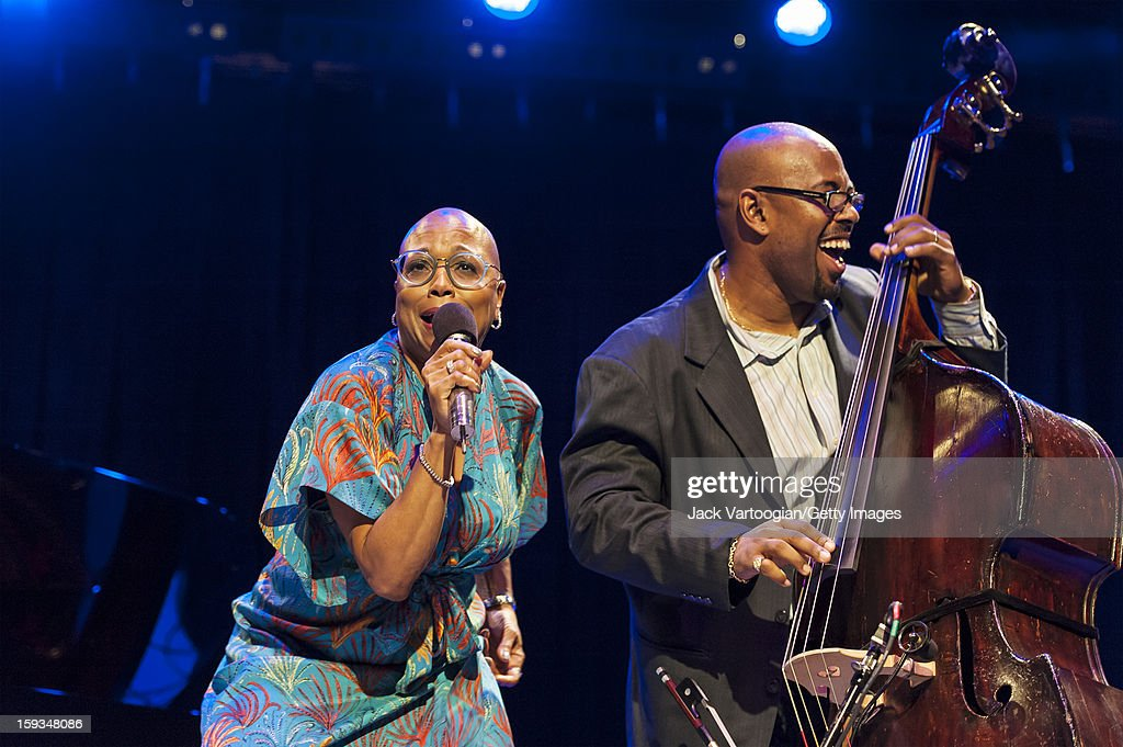 At 'Jazz For Obama 2012: The Jazz Concert For America's Future,' American musicians Dee Dee Bridgewater (left) on vocals and and Christian McBride on upright bass perform onstage at Symphony Space, New York, New York, October 9, 2012. Bridgewater also served as the evening's host.