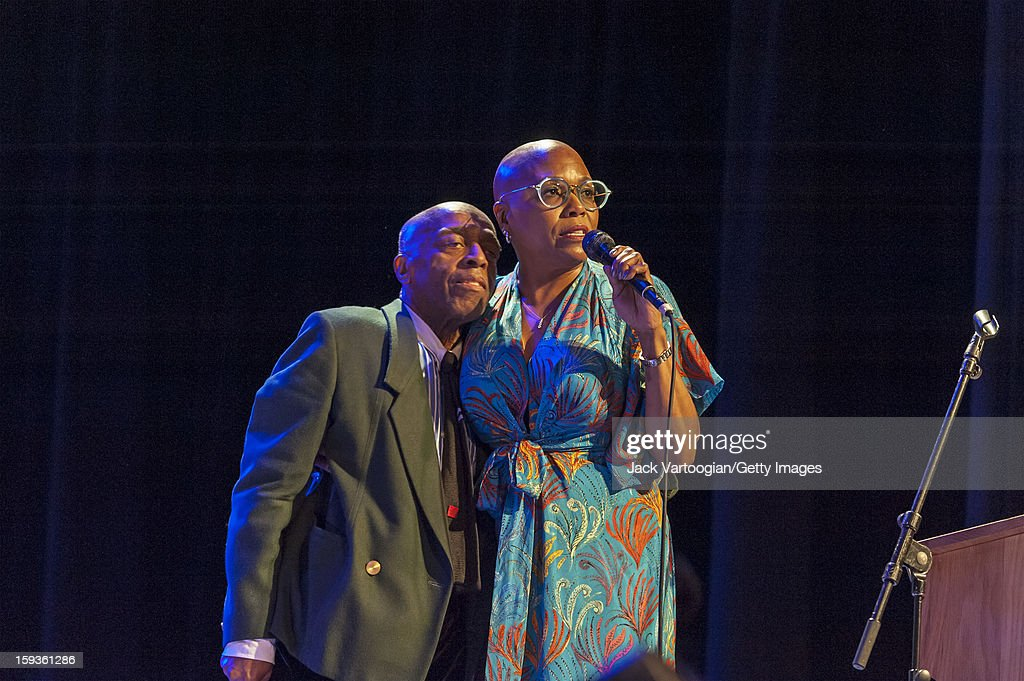 At 'Jazz For Obama 2012: The Jazz Concert For America's Future,' American musicians Roy Haynes (left) and vocalist Dee Dee Bridgewater perform onstage at Symphony Space, New York, New York, October 9, 2012. Bridgewater also served as the evening's host.