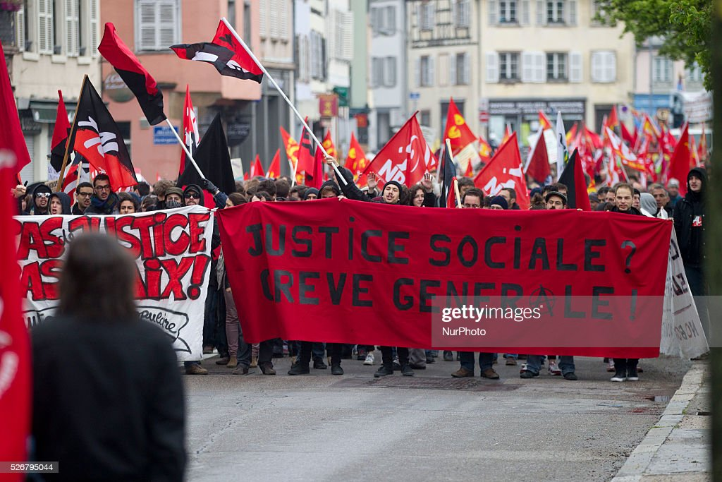 "At least 1,500 protesters in Strasbourg, France, on May 1, 2016, during the International Workers Day. The traditional parade of May 1st has this year placed under the sign of the fight against the law made by the Minister Myriam El Kohmri: ""All together for social progress, for the withdrawal of labor law, for a Code the work of the 21st century, ""the CGT argued in his call for protests."