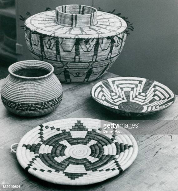 At left is a functional basket from the Chemehueve tribe who live on tower Colorado River Top basket is from the Tulare nation in central California...