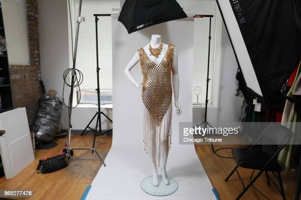 At Leslie Hindman Auctioneers a Paco Rabanne chainmail sleeveless dress is displayed on a catalog studio mannequin on Monday Oct 2 2017 It and the...