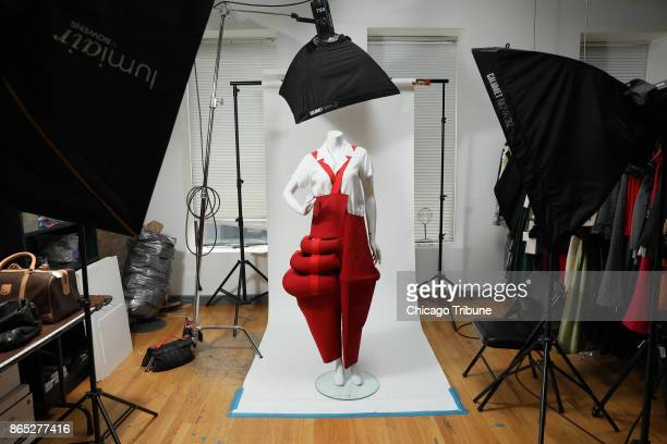 At Leslie Hindman Auctioneers a pair of Comme des Garcons overalls designed by Rei Kawakubo is displayed on a mannequin on Monday Oct 2 2017 in a...