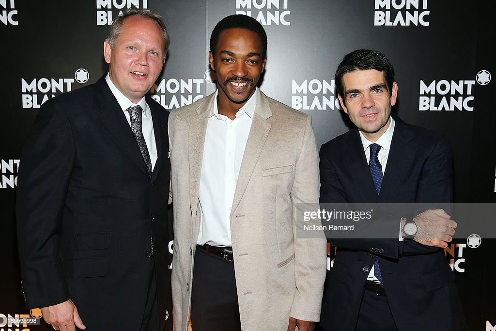 CEO at Montblanc Jerome Lambert, actor Anthony Mackie and President & CEO at Montblanc North America Jan-Patrick Schmitz attend Montblanc celebrates Madison Avenue Boutique Opening at Montblanc Boutique on Madison Avenue on October 22, 2013 in New York City.