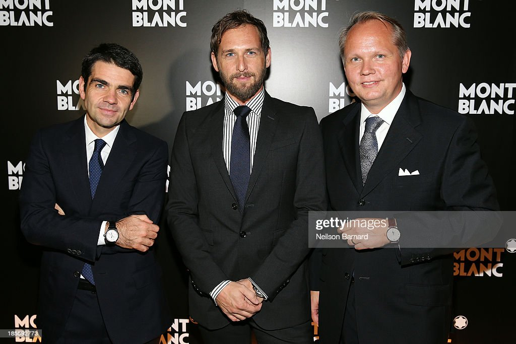 CEO at Montblanc Jerome Lambert actor Josh Lucas and President CEO at Montblanc North America JanPatrick Schmitz attend Montblanc celebrates Madison...