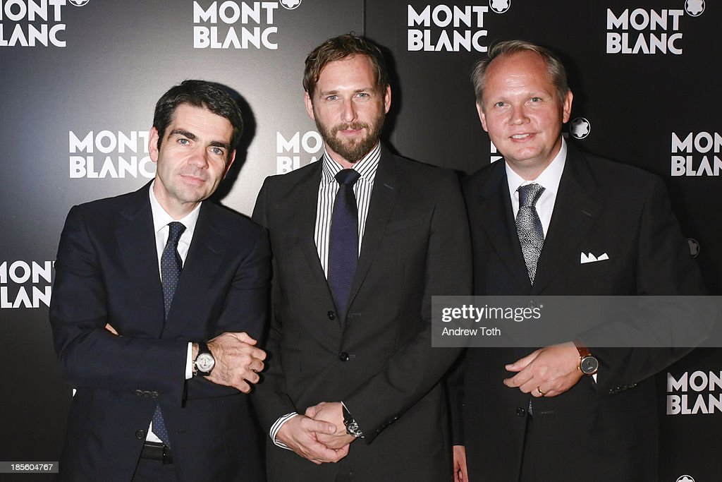CEO at Montblanc Jerome Lambert actor Josh Lucas and President CEO at Montblanc North America JanPatrick Schmitz attend the Montblanc Madison Avenue...