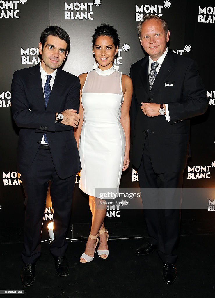 CEO at Montblanc <a gi-track='captionPersonalityLinkClicked' href=/galleries/search?phrase=Jerome+Lambert&family=editorial&specificpeople=4001752 ng-click='$event.stopPropagation()'>Jerome Lambert</a>, actress <a gi-track='captionPersonalityLinkClicked' href=/galleries/search?phrase=Olivia+Munn&family=editorial&specificpeople=598969 ng-click='$event.stopPropagation()'>Olivia Munn</a> and President & CEO at Montblanc North America <a gi-track='captionPersonalityLinkClicked' href=/galleries/search?phrase=Jan-Patrick+Schmitz&family=editorial&specificpeople=2160858 ng-click='$event.stopPropagation()'>Jan-Patrick Schmitz</a> attend Montblanc celebrates Madison Avenue Boutique Opening at Montblanc Boutique on Madison Avenue on October 22, 2013 in New York City.