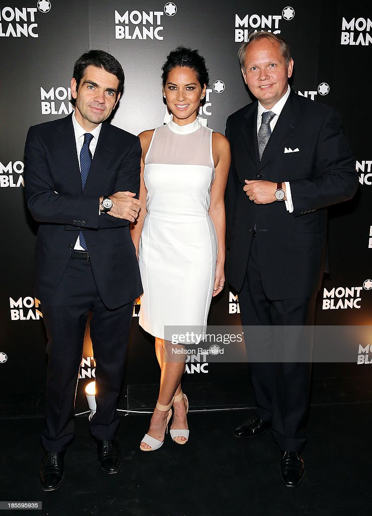CEO at Montblanc Jerome Lambert actress Olivia Munn and President CEO at Montblanc North America JanPatrick Schmitz attend Montblanc celebrates...