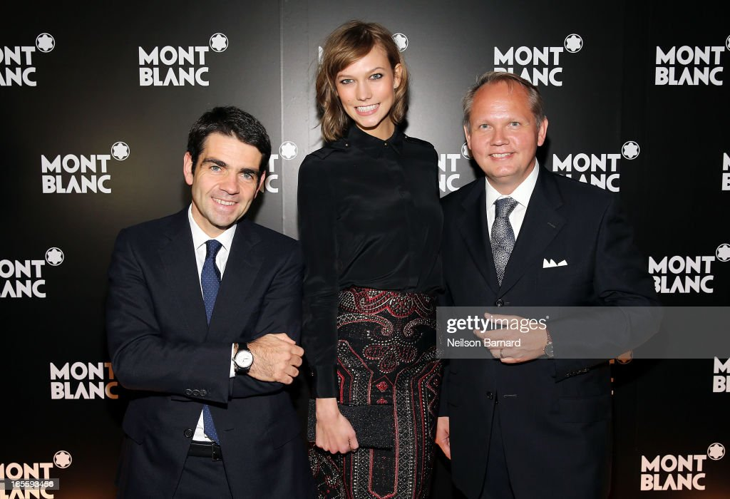 CEO at Montblanc Jerome Lambert, model Karlie Kloss and President & CEO at Montblanc North America Jan-Patrick Schmitz attend Montblanc celebrates Madison Avenue Boutique Opening at Montblanc Boutique on Madison Avenue on October 22, 2013 in New York City.