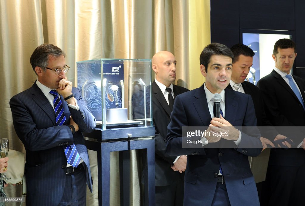CEO at Montblanc <a gi-track='captionPersonalityLinkClicked' href=/galleries/search?phrase=Jerome+Lambert&family=editorial&specificpeople=4001752 ng-click='$event.stopPropagation()'>Jerome Lambert</a> (R) speaks at Montblanc celebrates Madison Avenue Boutique Opening at Montblanc Boutique on Madison Avenue on October 22, 2013 in New York City.