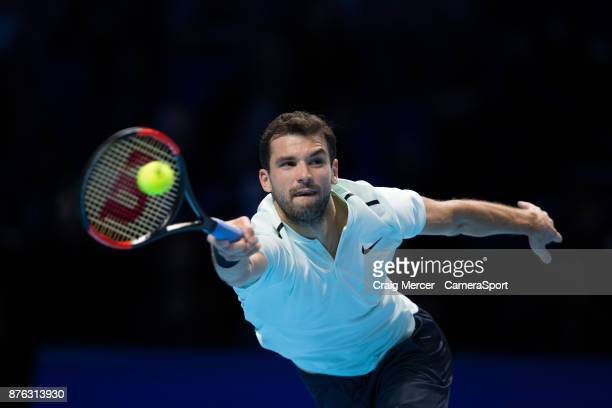 Grigor Dimitrov of Bulgaria in action against David Goffin of Belgium in the Mens Final today at O2 Arena on November 19 2017 in London England...