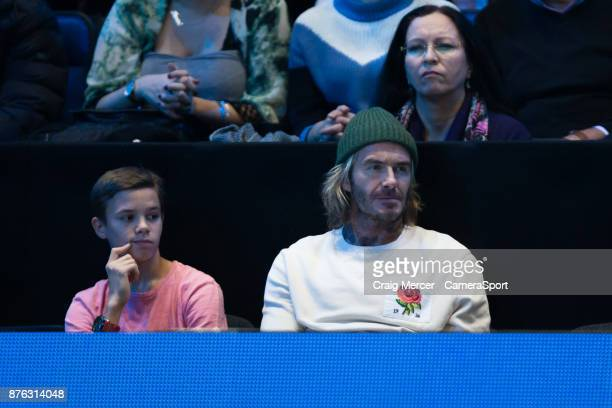 David Beckham and son Romeo are seen watching the Mens final between David Goffin and Grigor Dimitrov at O2 Arena on November 19 2017 in London...