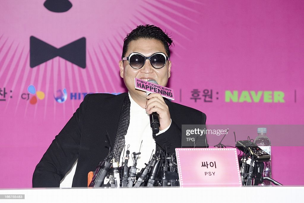 PSY at press conference of his concert Happening on Saturday April 13, 2013 in Seoul, South Korea.
